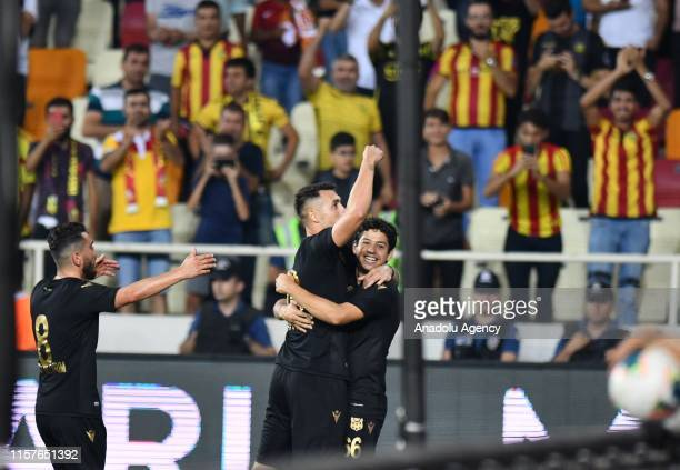 Adis Jahovic and Guilherme of Yeni Malatyaspor celebrate after penalty goal during the UEFA Europa League second qualifying match between Yeni...