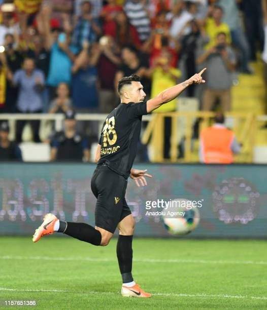 Adis Jahovic of Yeni Malatyaspor celebrates after penalty goal during the UEFA Europa League second qualifying match between Yeni Malatyaspor and...