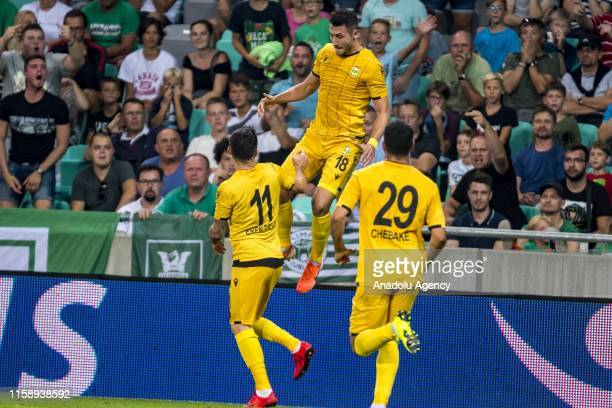 Adis Jahovic of Yeni Malatyaspor celebrates with his teammates after scoring a goal during UEFA Europa League 2nd Qualifying Round soccer match...