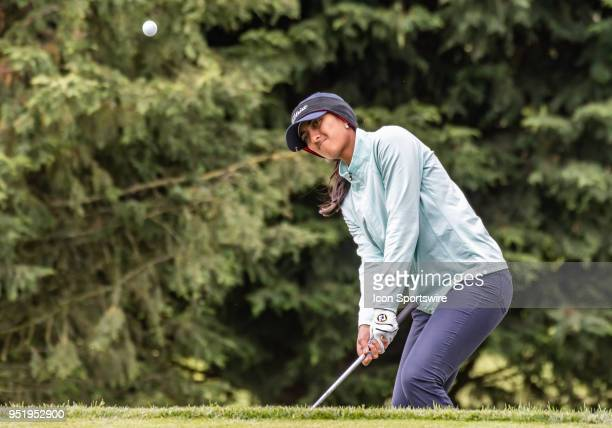 Aditi Ashok of Bangalore India chips onto the 9th hole green during the first round of the 2018 LPGA MEDIHEAL Championship on April 26 2018 at the...