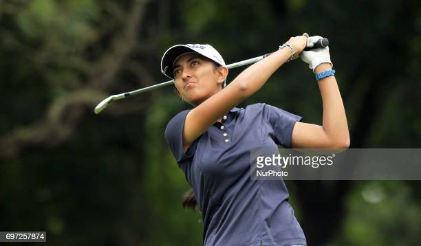 Aditi Ashok of India follows her tee shot on the second tee during the third round of the Meijer LPGA Classic golf tournament at Blythefield Country...