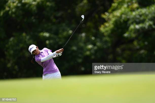 Aditi Ashok of India hits her approach shot on the first hole during the first round of the Meijer LPGA Classic for Simply Give at Blythefield...