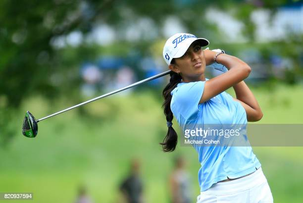 Aditi Ashok of India hits her drive on the third hole during the third round of the Marathon Classic Presented By Owens Corning And OI held at...