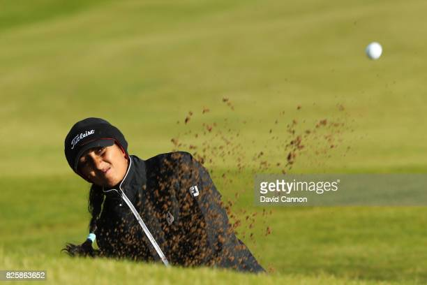 Aditi Ashok of India hits her second shot on the 4th hole during the first round of the Ricoh Women's British Open at Kingsbarns Golf Links on August...