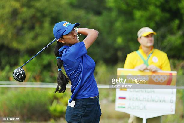 Aditi Ashok of India hits her tee shot on the fifth hole during the second round of the Women's Individual Stroke Play golf on Day 13 of the Rio 2016...