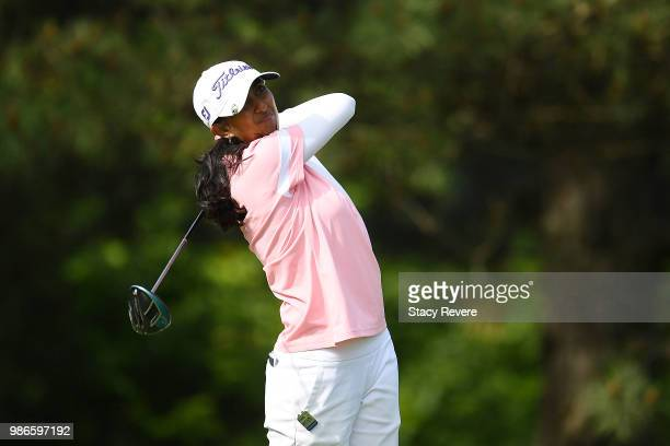 Aditi Ashok of India hits her tee shot on the second hole during the first round of the KPMG Women's PGA Championship at Kemper Lakes Golf Club on...