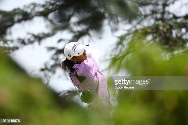 Aditi Ashok of India hits her tee shot on the third hole during the first round of the Meijer LPGA Classic for Simply Give at Blythefield Country...