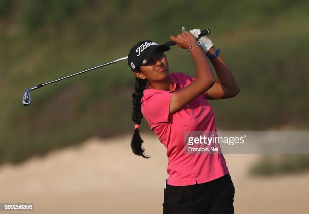 Aditi Ashok of India in action during Day Two of the Fatima Bint Mubarak Ladies Open at Saadiyat Beach Golf Club on November 2 2017 in Abu Dhabi...