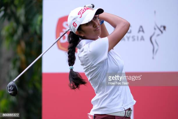 Aditi Ashok of India in action during day two of the Sime Darby LPGA Malaysia at TPC Kuala Lumpur East Course on October 27 2017 in Kuala Lumpur...