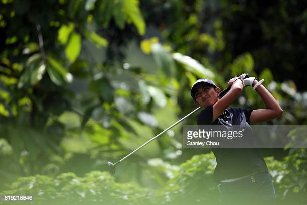 Aditi Ashok of India plays a shot during day four of the Sime Darby LPGA at TPC Kuala Lumpur on October 30 2016 in Kuala Lumpur Malaysia