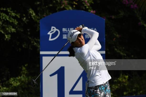 Aditi Ashok of India plays a shot during the first round of the Blue Bay LPGA on November 7 2018 in Hainan Island China