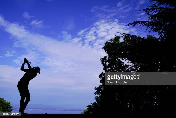 Aditi Ashok of India plays a shot during the first round of The Evian Championship at Evian Resort Golf Club on September 13 2018 in EvianlesBains...