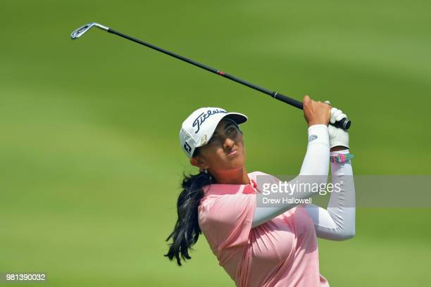 Aditi Ashok of India plays a shot on the 16th hole during the first round of the Walmart NW Arkansas Championship Presented by PG at Pinnacle Country...