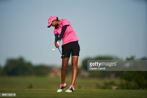 Aditi Ashok of India plays a tee shot at the sixth hole during the second round of the 2018 Volunteers of America LPGA Texas Classic at Old American...