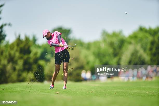 Aditi Ashok of India plays her second shot at the first hole during the continuation of the first round of the 2018 Volunteers of America LPGA Texas...