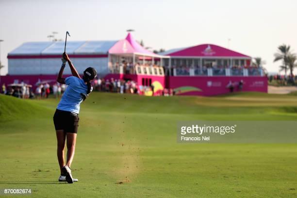Aditi Ashok of India plays her second shot on the 18th hole during Day Four of the Fatima Bint Mubarak Ladies Open at Saadiyat Beach Golf Club on...