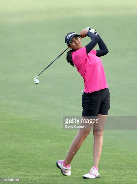 Aditi Ashok of India plays her second shot on the par 4 seventh hole during the second round of the 2018 ANA Inspiration on the Dinah Shore...