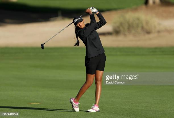 Aditi Ashok of India plays her second shot on the par 5 10th hole during the second round of the 2017 Dubai Ladies Classic on the Majlis Course at...