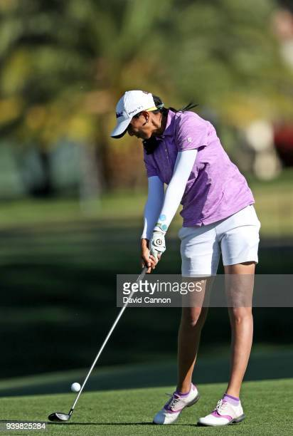 Aditi Ashok of India plays her second shot on the par 5 second hole during the first round of the 2018 ANA Inspiration on the Dinah Shore Tournament...