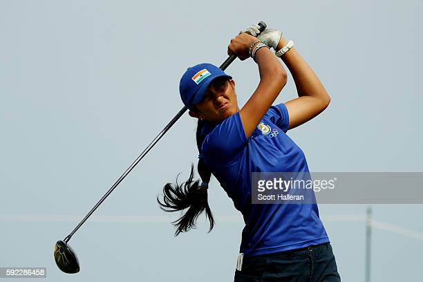 Aditi Ashok of India plays her shot from the ninth tee during the Women's Golf Final on Day 15 of the Rio 2016 Olympic Games at the Olympic Golf...