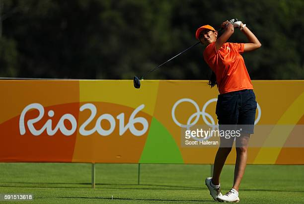 Aditi Ashok of India plays her shot from the third tee during the First Round of Women's Golf on Day 12 of the Rio 2016 Olympic Games at Olympic Golf...