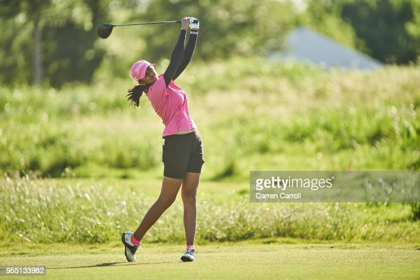 Aditi Ashok of India plays her tee shot at the eighth hole during the second round of the 2018 Volunteers of America LPGA Texas Classic at Old...