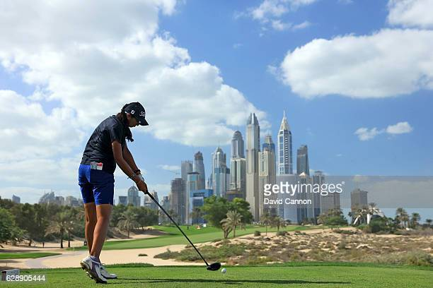 Aditi Ashok of India plays her tee shot on the eighth hole during the final round of the 2016 Omega Dubai Ladies Masters on the Majlis Course at the...