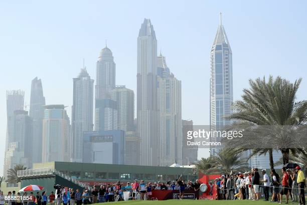 Aditi Ashok of India plays her tee shot on the first hole during the final round of the 2017 Dubai Ladies Classic on the Majlis Course at The...