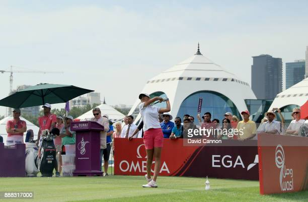 Aditi Ashok of India plays her tee shot on the par 4 first hole during the third round of the 2017 Dubai Ladies Classic on the Majlis Course at The...