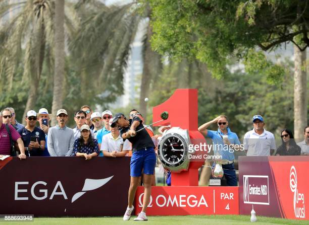 Aditi Ashok of India plays her tee shot on the par 4 first hole during the final round of the 2017 Dubai Ladies Classic on the Majlis Course at The...