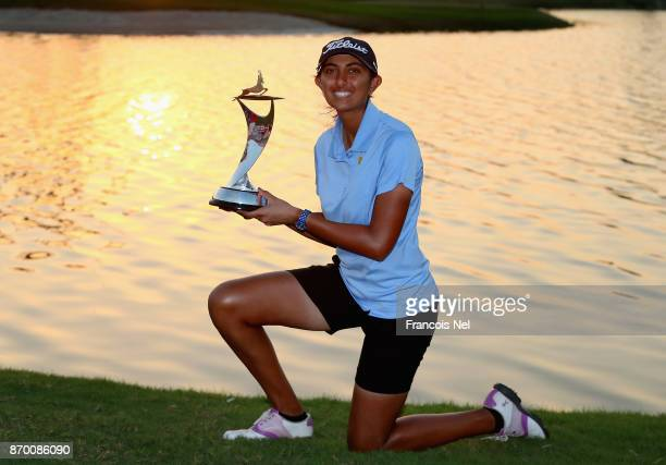 Aditi Ashok of India poses with the trophy following her victory during Day Four of the Fatima Bint Mubarak Ladies Open at Saadiyat Beach Golf Club...