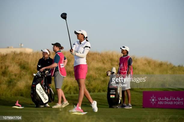 Aditi Ashok of India tees off from the 1st hole on Day One of the Fatima Bint Mubarak Ladies Open at Saadiyat Beach Golf Club on January 10 2019 in...