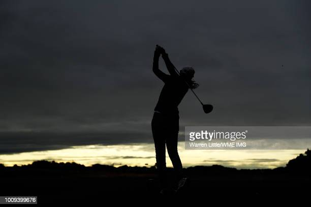 Aditi Ashok of India tees off on the 3rd hole during the first round of the Ricoh Women's British Open at Royal Lytham St Annes on August 2 2018 in...