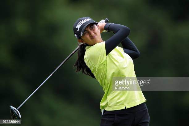 Aditi Ashok of India tees off on the 5th during the second round of the Meijer LPGA Classic golf tournament at Blythefield Country Club in Belmont MI...