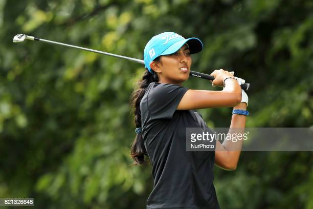Aditi Ashok of India tees off on the second tee during the final round of the Marathon LPGA Classic golf tournament at Highland Meadows Golf Club in...
