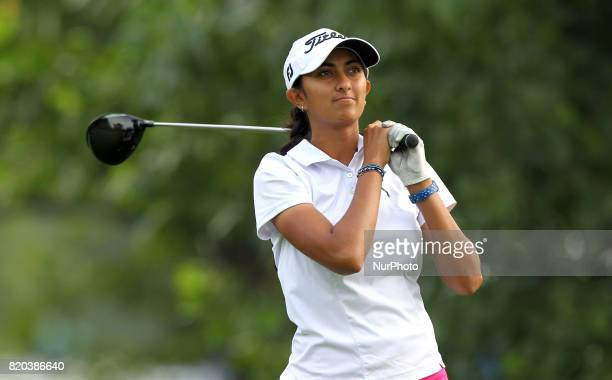 Aditi Ashok of India tees off on the third tee during the second round of the Marathon LPGA Classic golf tournament at Highland Meadows Golf Club in...