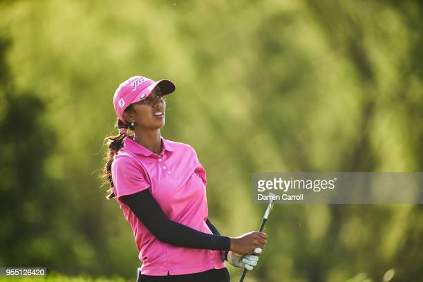 Aditi Ashok of India watches her tee shot at the seventh hole during the second round of the 2018 Volunteers of America LPGA Texas Classic at Old...