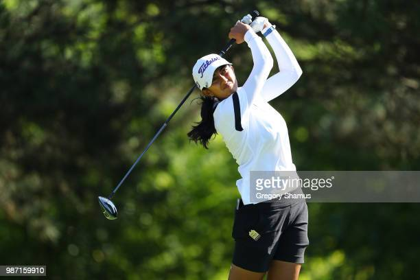 Aditi Ashok of India watches her tee shot on the second hole during the second round of the 2018 KPMG PGA Championship at Kemper Lakes Golf Club on...