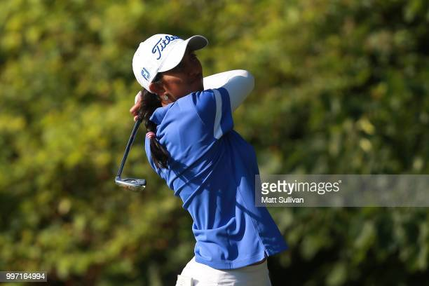 Aditi Ashok of India watches her tee shot on the second hole during the first round of the Marathon Classic Presented By Owens Corning And OI on July...