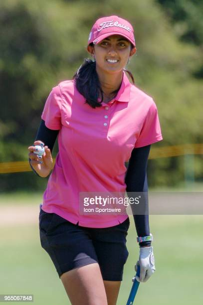 Aditi Ashok of India waves after making birdie on during the LPGA Volunteers of America Texas Classic on May 5 2018 at the Old American Golf Club in...