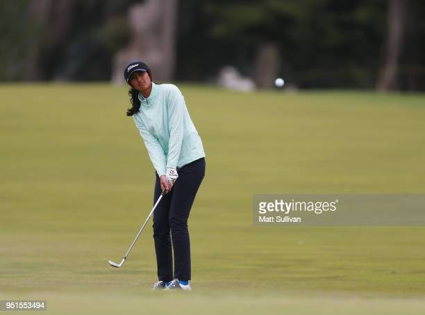 Aditi Ashok of Indian hits her second shot on the 15th hole during the first round of the Mediheal Championship at Lake Merced Golf Club on April 26...