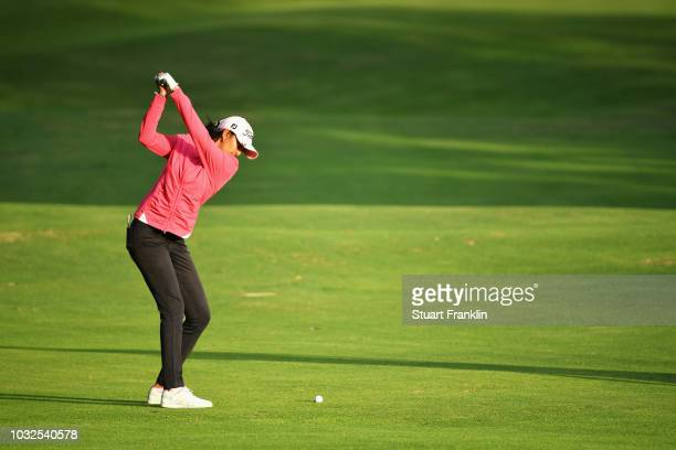 Aditi Asok of India plays a shot from the fairway during day one of the Evian Championship at Evian Resort Golf Club on September 13 2018 in...