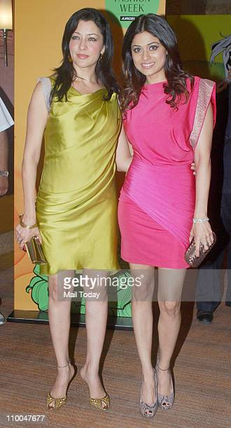 Aditi Govitrikar and Shamita Shetty attend the 3rd day of the Lakme Fashion week Summer resort 2011 in Mumbai on March 13 2011
