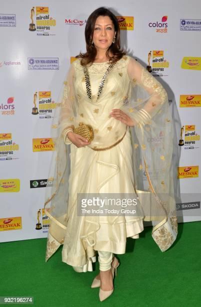 Aditi Govitrikar arrives at the Mirchi Music Awards Marathi 2018 at Filmcity in Mumbai