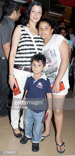 Aditi Govitrikar with her children at the special screening of film Spy Kids 4 at PVR on Wednesday 17 August 2011