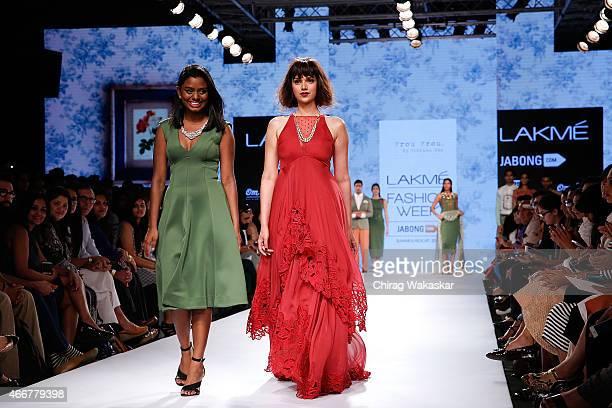 Aditi Rao Hydari Archana Rao walk the runway during day 1 of Lakme Fashion Week Summer/Resort 2015 at Palladium Hotel on March 18 2015 in Mumbai India
