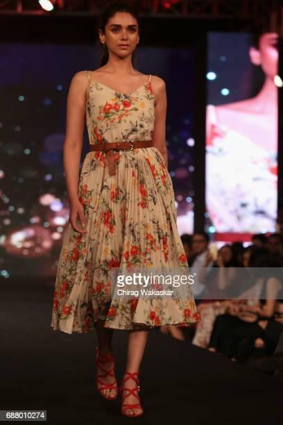 Aditi Rao Hydari walks the runway during Shoppers Stop Designer of the Year awards 2017 held at Four Seaons on May 24 2017 in Mumbai India
