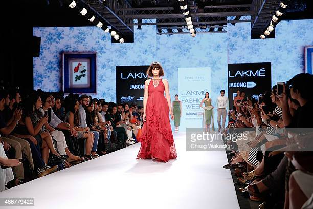Aditi Rao Hydari walks the runway during the Frou Frou by Archana Rao show on as part of day 1 of Lakme Fashion Week Summer/Resort 2015 at Palladium...