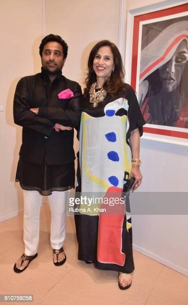 Aditya Kilachand and his mother Shobhaa De at Dilip De's Smartphone School Of Art Exhibit 'Celebration Of The Unexpected' at Jehangir Art Gallery on...