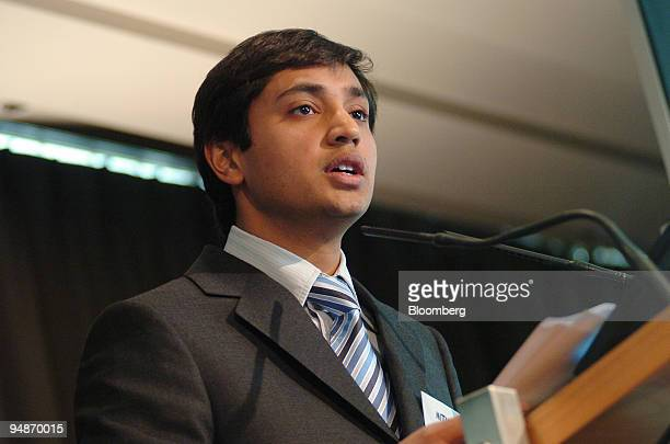 Aditya Mittal group financial officer of Mittal Steel Co speaks at a press conference in the Pavilion Gabriel in Paris on Monday January 30 2006...
